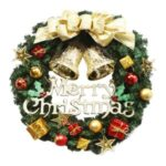 Christmas Hanging Wreath Garland Wall Door Ornaments Xmas Festive Decoration – 30cm/Big Gold Bell
