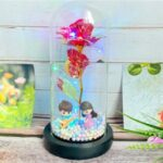 Glass Cover LED Simulation Rose Decoration Home Ornaments – Guitar Colorful Light