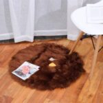 Round Fluffy Rug Shaggy Floor Mat Faux Fur Hairy Carpet – Coffee//Diameter: 80cm