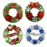 35cm Xmas Flower Garland Christmas Tree Wreath Hanging Pendant – Random Color