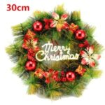 Christmas Tree Hanging Wreath Xmas Garland Wall Door Pendant Festive Decor – Red
