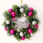 Xmas Garland 30cm/40cm/50cm Merry Christmas Tree Wreath Wall Door Hanging Pendant-Rose – white/40cm – Rose-white//40cm