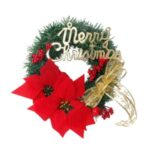 Merry Christmas Tree Wreath Xmas Red Flower Garland for Shopping Mall Hotel Decor – 50cm