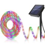 3m/5m Solar LED Strip Light Flexible Tape Outdoor Waterproof Garden Fence Lamp Light – 5m Colorful