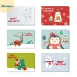 24Pcs Christmas Greeting Cards Set Mini Envelopes Blessing Cards Christmas Party Gift – Color