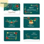 24Pcs Christmas Greeting Cards Set Mini Envelopes Blessing Cards Christmas Party Gift – Green