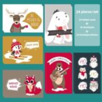 24Pcs Christmas Greeting Cards Set Mini Envelopes Blessing Cards Christmas Party Gift – Cartoon Animal A