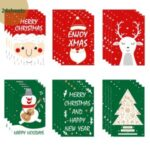 24Pcs Christmas Greeting Cards Set Mini Envelopes Blessing Cards Christmas Party Gift – Red + Green