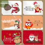 24Pcs Christmas Greeting Cards Set Mini Envelopes Blessing Cards Christmas Party Gift – Cartoon Animal B