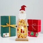 Wooden LED Light Santa Claus/Snowman Christmas Ornament Xmas Gift Home Decor – Santa
