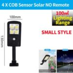 LED Solar Street Light 3 Modes Remote Garden Lamp IP67 Waterproof Motion Sensor Outdoor Lighting – S Size