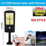 LED Solar Street Light 3 Modes Remote Garden Lamp IP67 Waterproof Motion Sensor Outdoor Lighting – L Size/4 COB with Remote