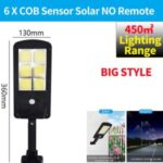 LED Solar Street Light 3 Modes Remote Garden Lamp IP67 Waterproof Motion Sensor Outdoor Lighting – L Size/6 COB