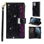 Glittery Starry Style Laser Carving Zipper Leather Case for iPhone 12 Max/12 Pro 6.1 inch – Black