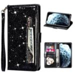 Flash Powder Zipper Pocket Wallet Flip Leather Phone Case with Strap for iPhone 12 Pro Max 6.7 inch – Black