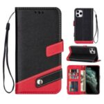 Color Splicing Litchi Skin PU Leather Wallet Stand Case for iPhone 12 5.4 inch – Black