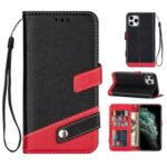 Contrast Color Litchi Texture PU Leather Wallet Cell Phone Cover for iPhone 12 Max/12 Pro 6.1 inch – Black