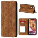 Imprint Flower Pattern Auto-absorbed Stand Case for iPhone 11 Pro Max 6.5 inch – Brown