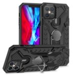 Armor Guard Detachable Kickstand TPU+PC Hybrid Protector Cover with Metal Sheet for iPhone 12 Pro Max 6.7 inch – Black