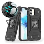 Detachable 2-in-1 Armor Style Kickstand TPU + PC Shell with Metal Sheet for iPhone 12 mini – Black