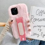 Solid Color Handy Strap Fur Coated TPU Phone Shell for iPhone 12 Pro Max 6.7 inch – Pink