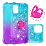 Shockproof Gradient Glitter Powder Quicksand TPU Case with Kickstand for iPhone 12 Pro Max – Cyan / Purple