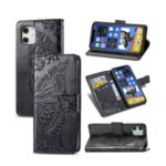 ENKAY HAT PRINCE Imprint Butterfly Flower Wallet Leather + TPU Phone Shell for iPhone 12 mini – Black