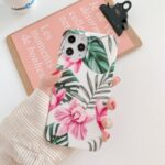 Natural Series Plants Pattern Printing IMD TPU Phone Cover for iPhone 12 Pro/12 – Red Flowers and Leaves
