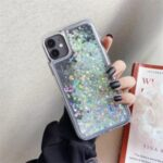 Rhinestone Decor Gradient Glitter Powder Quicksand TPU Cover for iPhone 12/12 Pro – Grey / White
