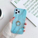 Marble Pattern IMD Anti-fall TPU Phone Cover with Ring Kickstand for iPhone 11 Pro Max 6.5 inch – Style A