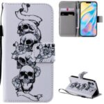 Patterned Leather Protective Case with Wallet Stand for iPhone 12 mini – Skulls