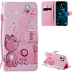 Patterned Leather Protective Case with Wallet Stand for iPhone 12 Pro Max – Cat