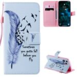 Patterned Wallet Stand Leather Case for iPhone 12 Pro Max Phone Cover – Feather and Flying Bird