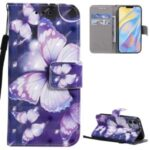 Light Spot Decor Patterned Wallet Stand Leather Shell for iPhone 12 Mini – Beautiful Butterfly