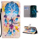 Light Spot Decor Pattern Printing Wallet Stand Leather Shell for iPhone 12 Pro Max with Lanyard – Dream Catcher