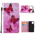 Pattern Printing Leather Phone Wallet Stand Cover Case for iPhone 12 mini – Red Butterfly