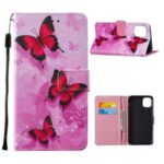 Cute Pattern Printing Leather Phone Protective Case for iPhone 12/12 Pro – Pink Butterfly