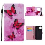 Leather Pattern Printing Phone Stand Cover Case for iPhone 12 Pro Max – Red Butterfly