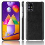 Litchi Skin Leather Coated PC Phone Case for Samsung Galaxy M31s – Black