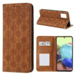 Auto-absorbed Imprint Flower Surface Cover for Samsung Galaxy A71 5G SM-A716 – Brown