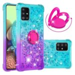 TPU Case for Samsung Galaxy A71 5G SM-A716 Shockproof Gradient Quicksand with Kickstand Cover – Cyan / Purple