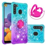TPU Quicksand Case for Samsung Galaxy A21 (US Version) Shockproof Gradient Kickstand Shell – Cyan / Purple