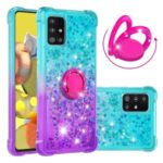 TPU Quicksand Case for Samsung Galaxy A51 5G SM-A516 Gradient Kickstand Shockproof Shell – Cyan / Purple