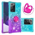 Kickstand Quicksand TPU Case for Samsung Galaxy Note20 Ultra/Note20 Ultra 5G Gradient Shockproof Shell – Cyan / Purple