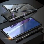 For Samsung Galaxy Note 20/Note 20 5G Magnetic Installation Metal Frame + Single Tempered Glass Protective Back Shell with Lens Cover – Black