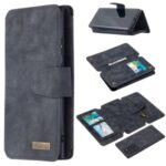 Detachable Matte Finish Leather Wallet Phone Cover with Zippered Pocket for Samsung Galaxy Note20 Ultra 5G / Galaxy Note20 Ultra – Black