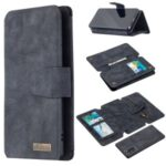 BF07 Detachable Matte Finish Leather Wallet Phone Cover with Zippered Pocket for Samsung Galaxy Note 20 5G / Galaxy Note 20 – Black