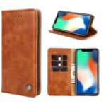 Non-Magnetic TPU + PU Leather Wallet Phone Cover for Samsung Galaxy S20 Plus – Light Brown
