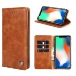 Non-Magnetic Leather Stand Wallet Phone Case for Samsung Galaxy M31s – Light Brown