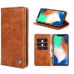 Non-Magnetic Leather Phone Case for Samsung Galaxy S20 – Light Brown